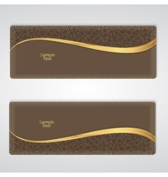 Elegant brown leather horizontal banner with a vector