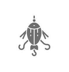 fishing bait float lure fish with hook grey vector image