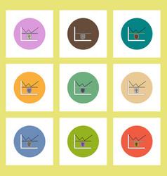 flat icons set of progress statistics and shield vector image