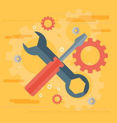 Flat repair icon mechanic service concept web vector