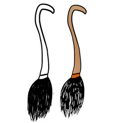 Funny hand drawn halloween witch hat broom vector