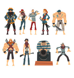 funny pirates collection angry armed male vector image