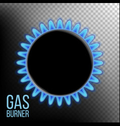 Gas burner burner ring with blue flame vector