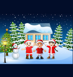 Group of kids in red santa costume joyful and laug vector