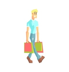 Guy With Two Shopping Bags vector image