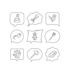 hammer hothouse and watering can icons vector image