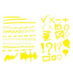 hand drawn highlighter set vector image