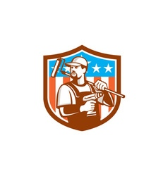 Handyman Cordless Drill Paintroller Crest Flag vector