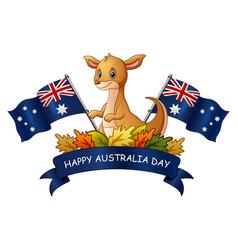 Happy australia day with kangaroo on white backgro vector