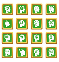 Head logos icons set green vector