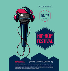 Hip-hop party poster with microphone rap festival vector