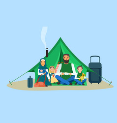 Homeless family in tent concept banner flat style vector