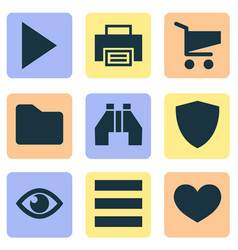 Interface icons set with play protect find and vector