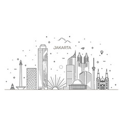 Jakarta cityscape with landmarks indonesia vector
