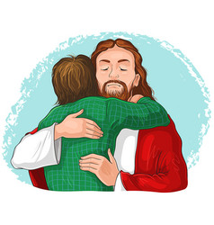jesus hugging child cartoon christian isolated vector image