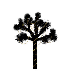 Joshua tree silhouette decorated with christmas vector