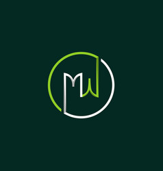 letter mw circle media creative business logo vector image