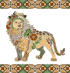 Lion pattern made from flowers leaves vector