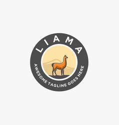 Logo alpacas elegant vintage badge vector