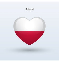 Love Poland symbol Heart flag icon vector image
