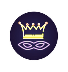 Mardi gras celebration mask with crown vector