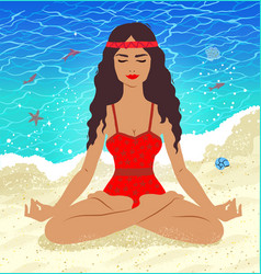 Meditating young woman vector