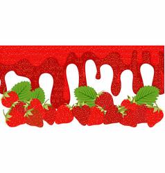 melt strawberry sauce on white background food vector image