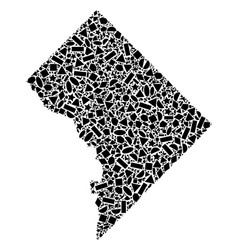 Mosaic map of washington dc of geometric shapes vector