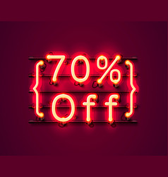 neon frame 70 off text banner night sign board vector image