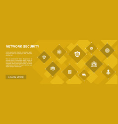 Network security banner 10 icons conceptprivate vector