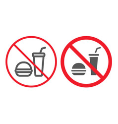 no food line and glyph icon prohibition vector image