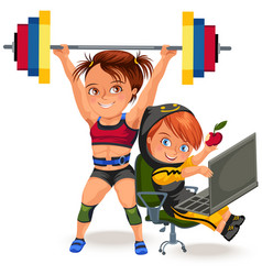not female professions strong muscular woman vector image