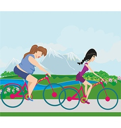 overweight woman and her slim friend riding on vector image