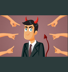 People pointing to devilish business man cartoon vector