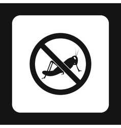 Prohibition sign grasshoppers icon simple style vector