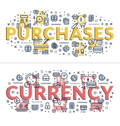 Purchases and Currency headings titles vector