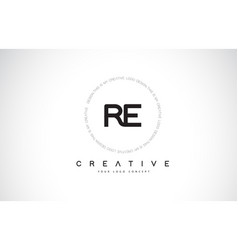 Re r e logo design with black and white creative vector