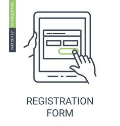 Registration form icon with outline style and vector