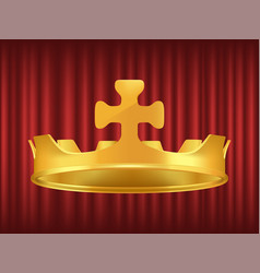 royal golden crown decorated with cross vector image