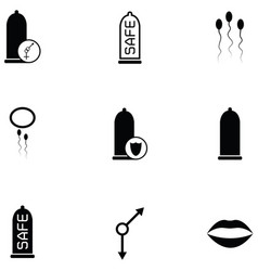 safe sex icon set vector image