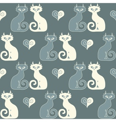 seamless a pair cats and hearts vector image