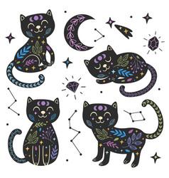 set black magical cats part 2 vector image