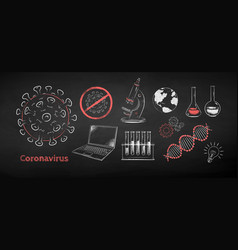 set coronavirus research concept vector image