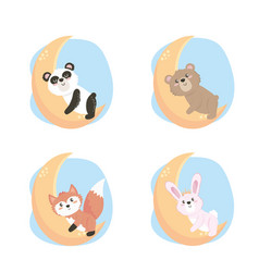 set cute wild animals in moon vector image
