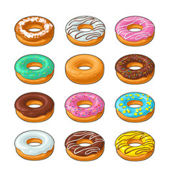 Set donut with different icing glaze stripes vector