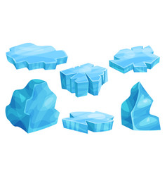 Set flat pieces ice vector