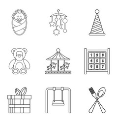 street celebration icons set outline style vector image