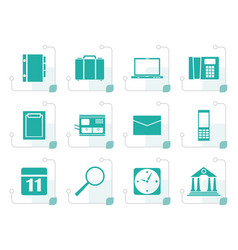Stylized business office and mobile phone icons vector