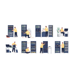 System administrator flat set vector