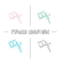 tattoo machine hand drawn icons set vector image